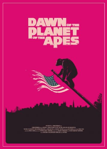 2010's Movie - DAWN OF THE PLANET OF THE APES - PINK / canvas print - self adhesive poster - photo